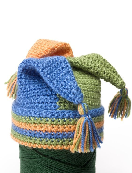 Crochet Tripod Hat Good pattern to use as part of a jester costume ...