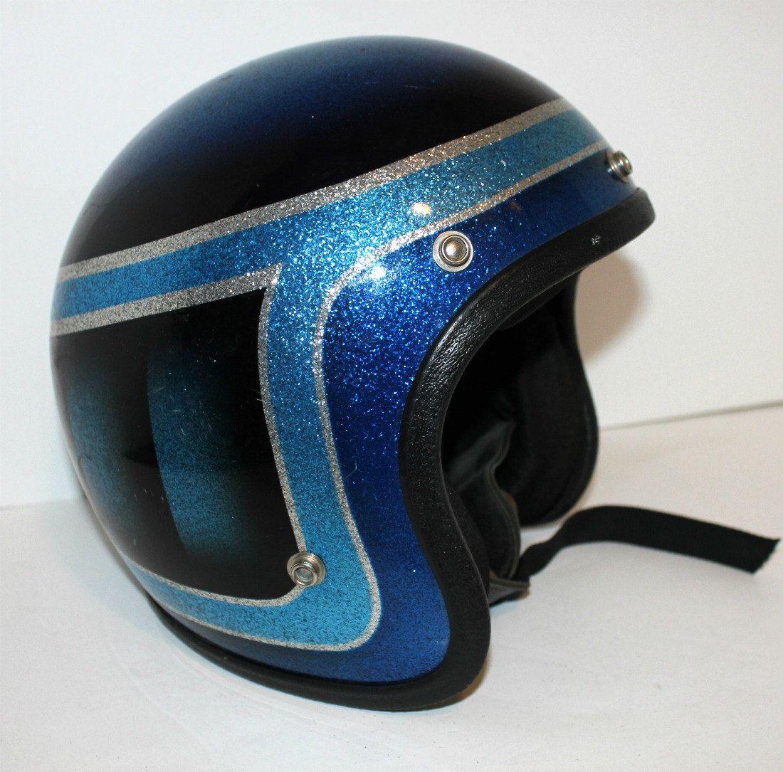 Vintage Motorcycle Helmet Blue Metal Flake Sparkle Metallic Etsy Motorcycle Helmets Vintage Vintage Helmet Motorcycle Helmets