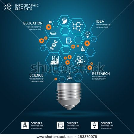 Creative science light bulb Abstract infographic Design template - stock vector