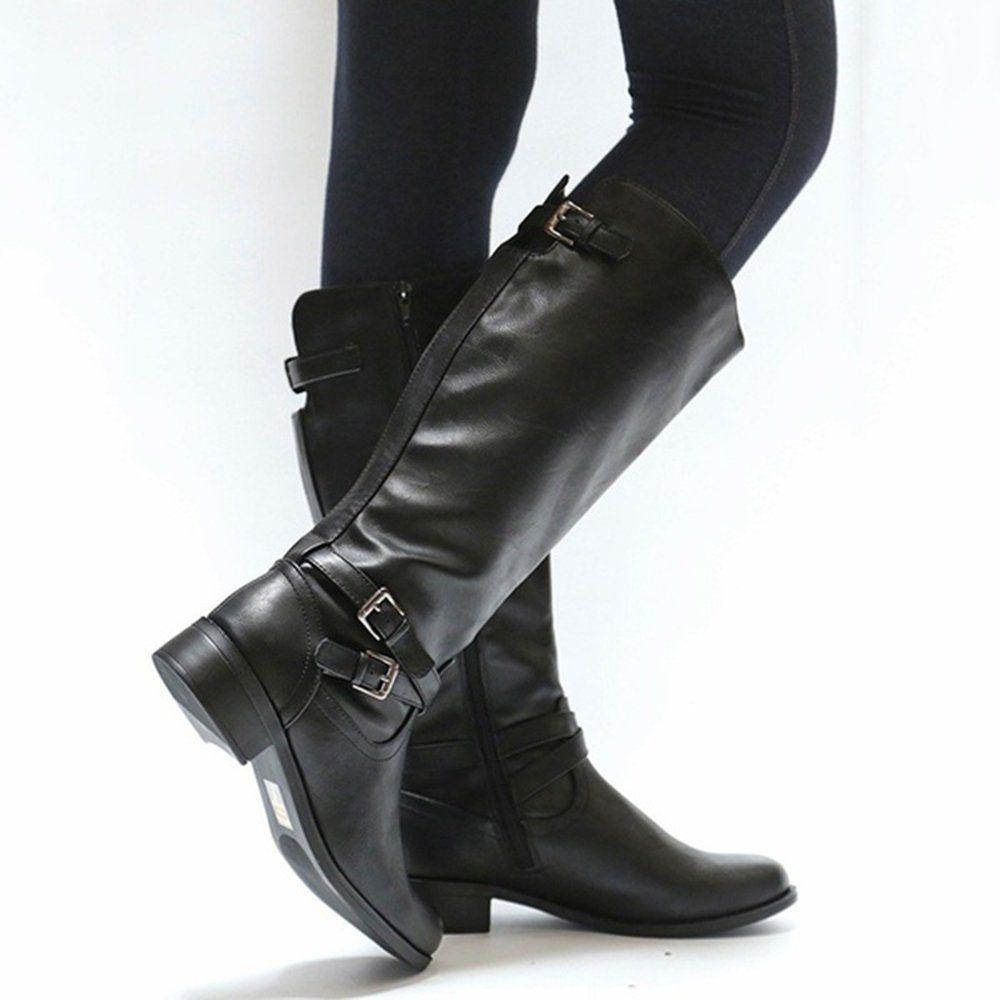 d7f7c1a7c423f Amazon.com   Ermonn Womens Wide Calf Riding Boots Knee High Buckle ...