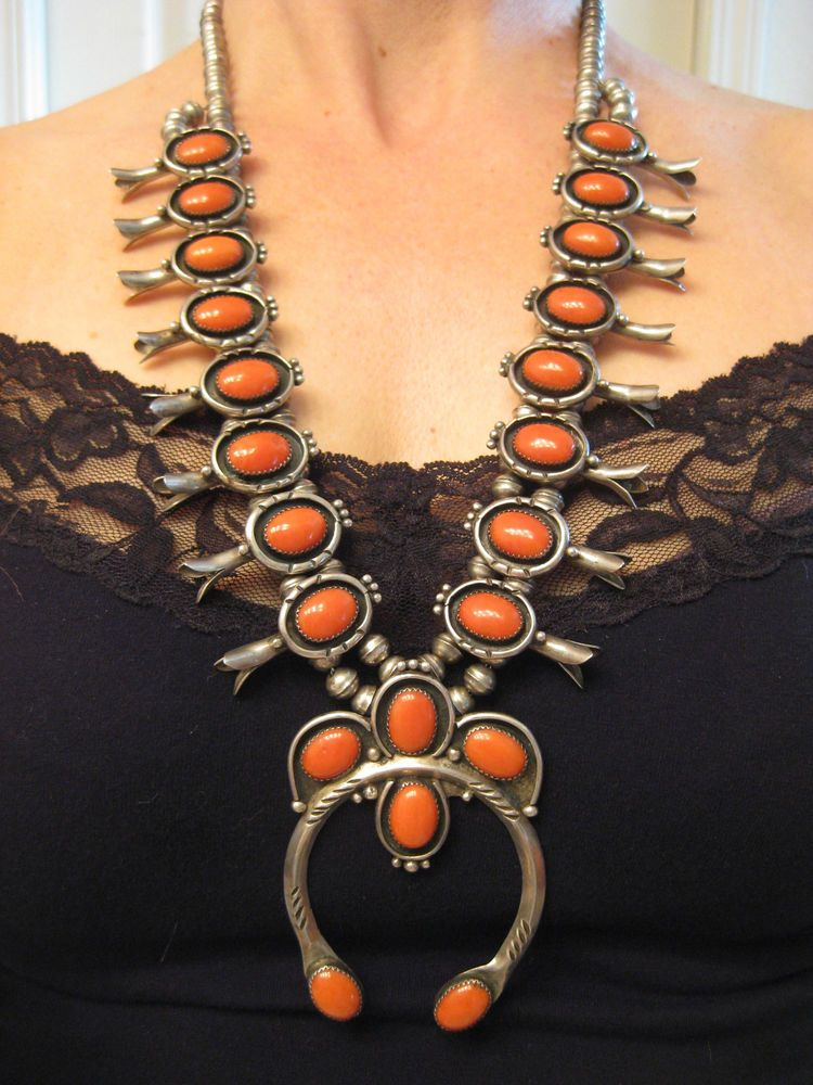 HUGE RARE CORAL CABOCHONS vintage NAVAJO CORAL STERLING SQUASH BLOSSOM NECKLACE