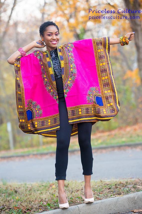 Dashki Fabric African Fashion Ankara Kitenge African: African Kimono For Women Pink Open Front Cardigan Dashiki