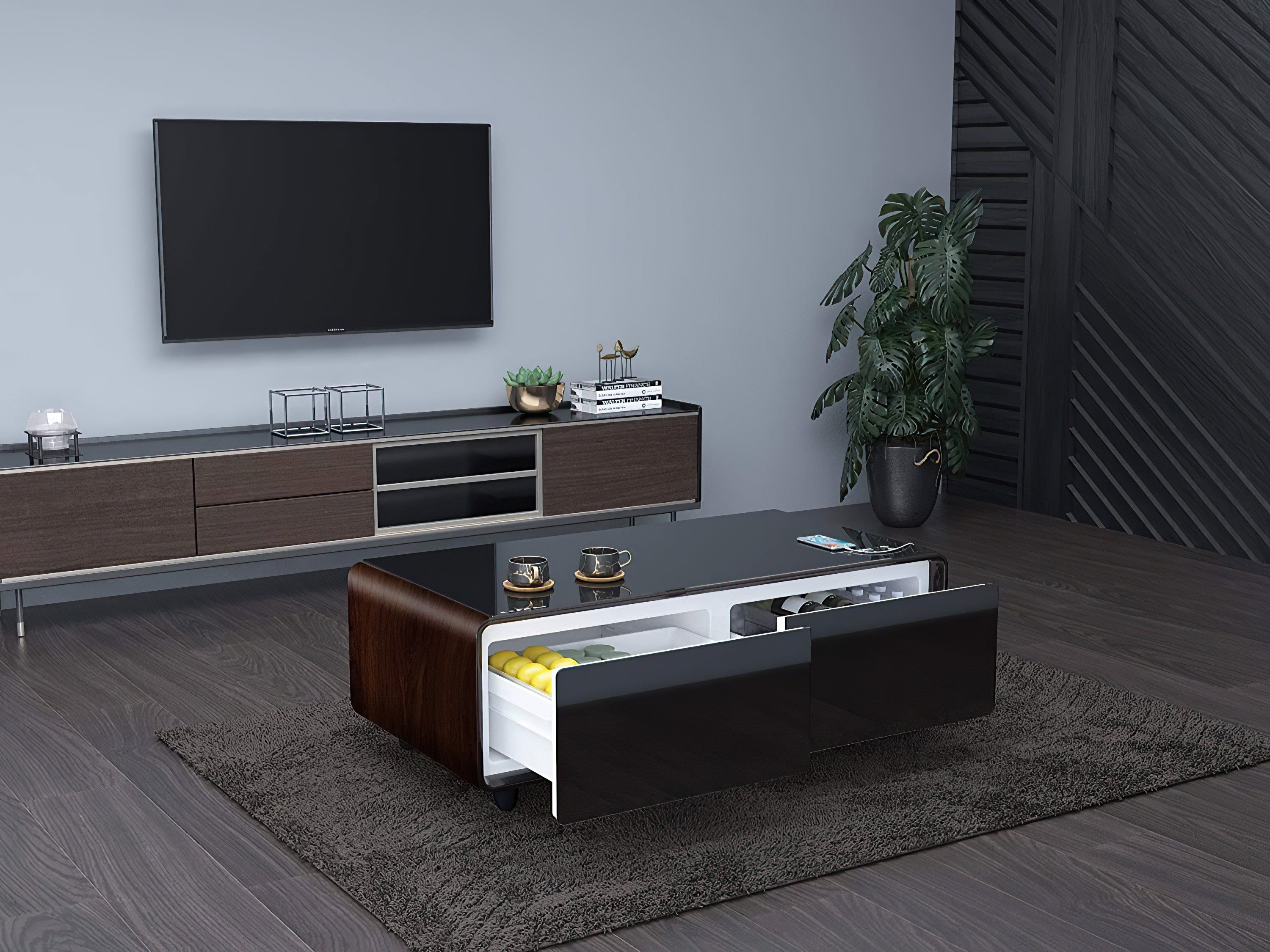 Steinfield Tech Smart Coffee Table In 2021 Table Decor Living Room Coffee Table With Fridge Coffee Table [ 2250 x 3000 Pixel ]