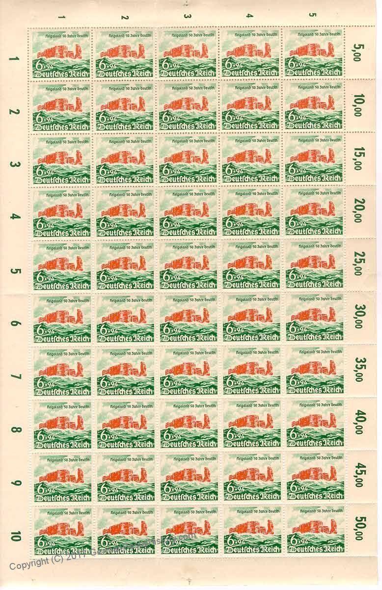 Third Reich Helgoland Full Sheet Michel 750 MNH Postfrisch g10642 | eBay
