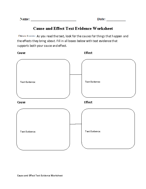 Cause And Effect Text Evidence Worksheet  ClassIc Ideas