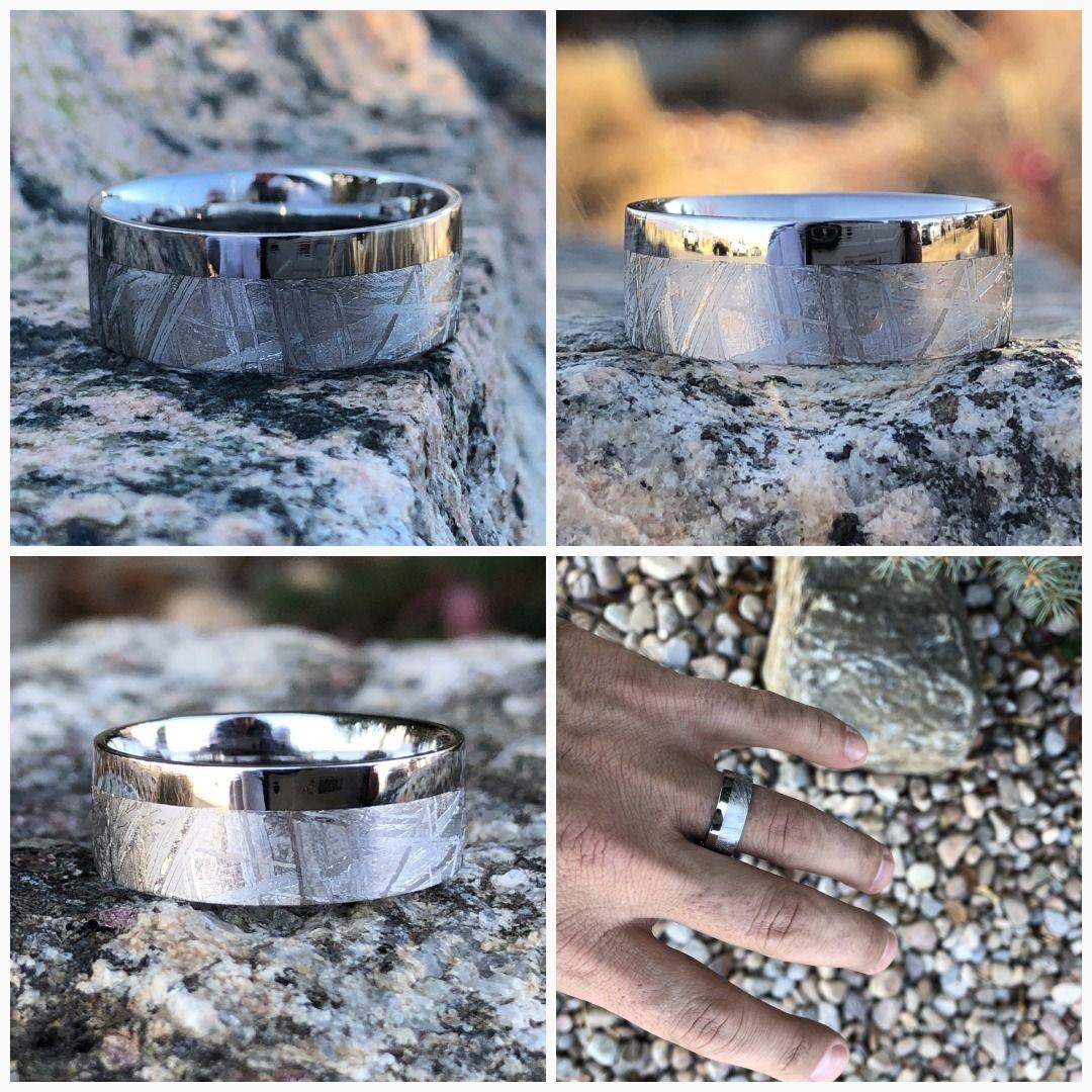 Gibeon Meteorite Wedding Band with Cobalt Chrome Sleeve