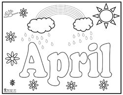 april showers coloring pages 04 - April Coloring Pages Toddlers