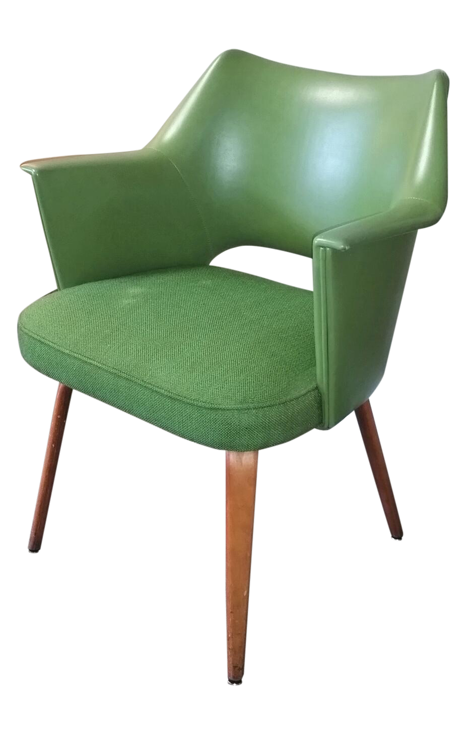"Lovely apple green vinyl and fabric Thonet bentwood armchair.  It's covered in the original tweed fabric and vinyl with new foam in seat. It has a sweet scoop shape and new seat foam, which make this an excellent reading chair.    There is some light wear on the fabric, legs and vinyl, although the chair is in overall great vintage shape. It's marked Thonet with a tag. Add this sexy sculptural chair to the bedroom, office or living room!  Seat is 18"" high and 19.5"" deep."