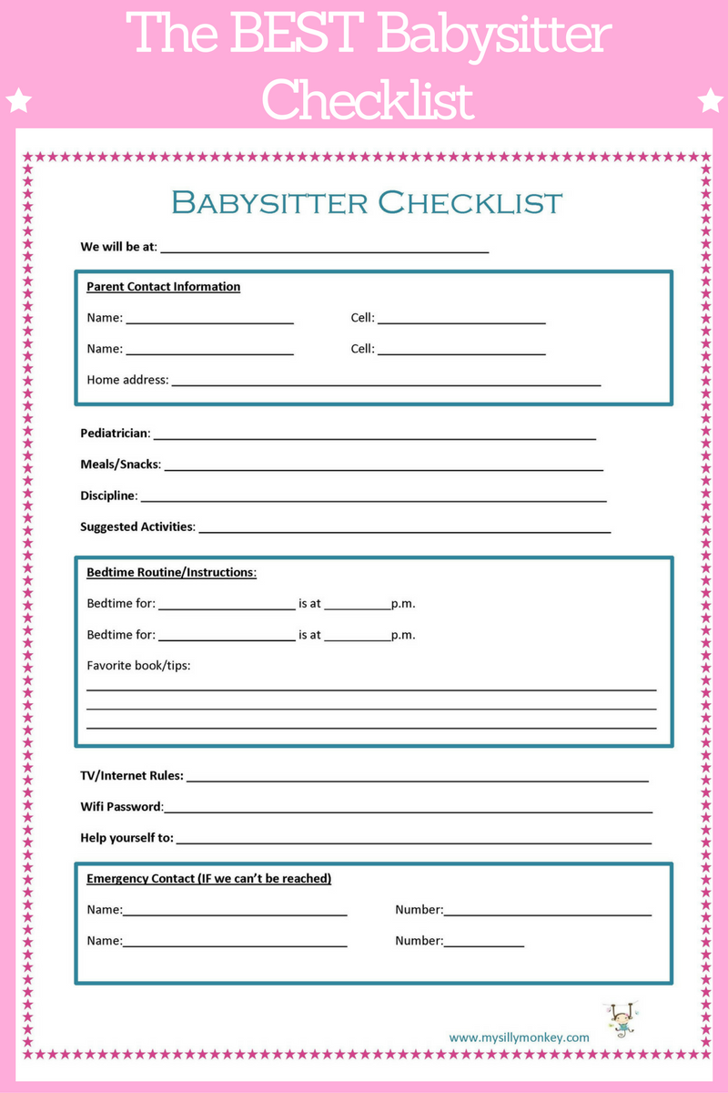 babysitter checklist post your blog bloggers promote here