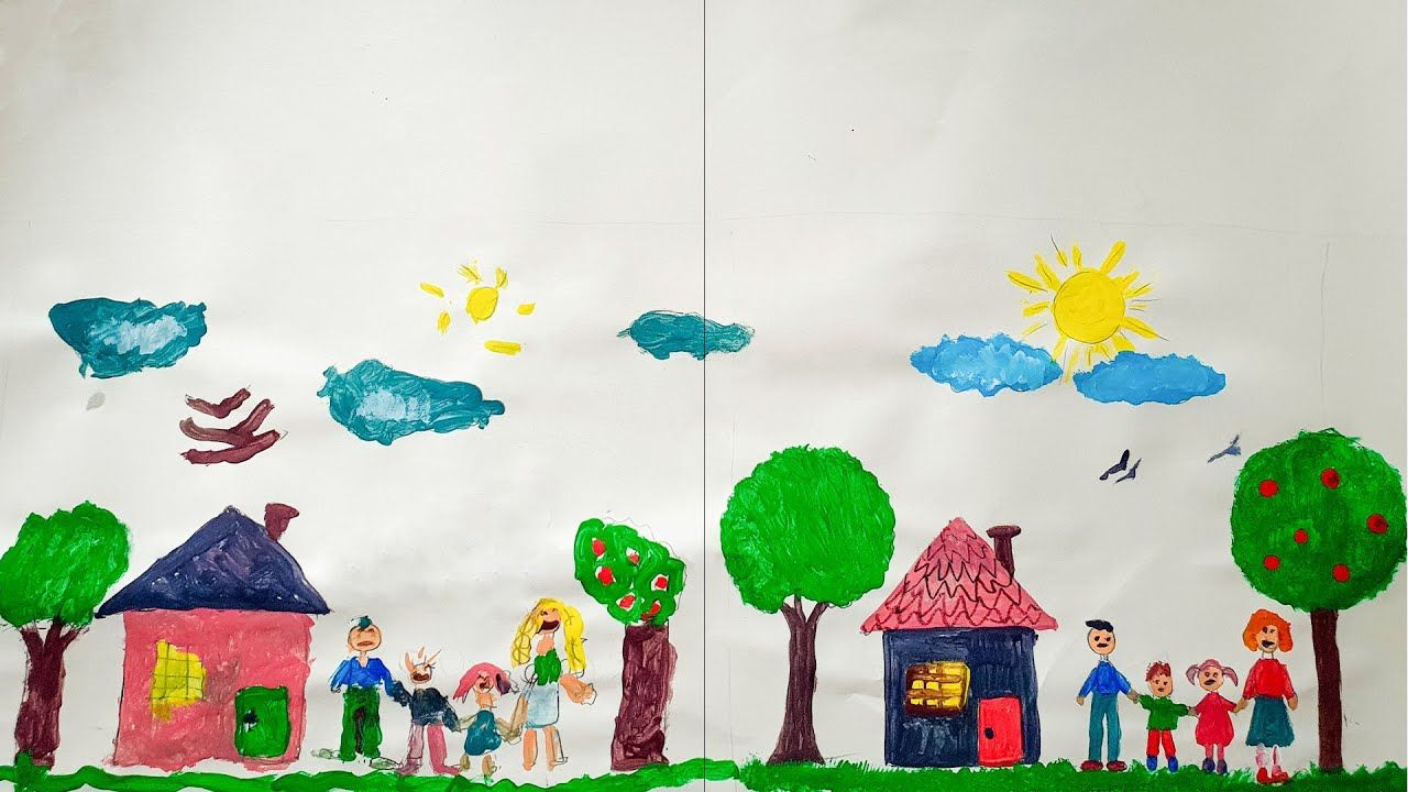 Drawing And Painting A Family With Their House طفلة ترسم أسرة و بيتها Girl Drawing Small Girls Working With Children