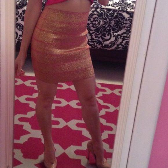 Pink/Gold Glitter Bandage Skirt (XS) Pink/Gold Glitter Bandage Skirt (XS) Skirts
