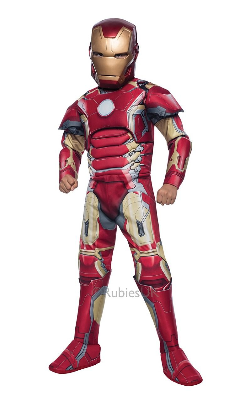 Mask T-Shirt Mens Fancy Dress Avengers Superhero Ultron Adult Costume Iron Man