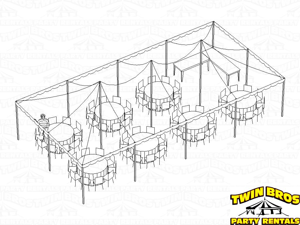 pole tent 20x40 3d seating for 70 rounds with food