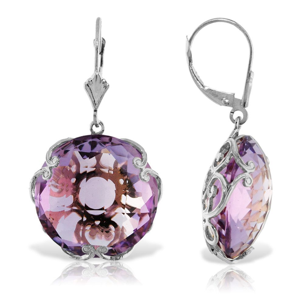 14K Solid White Gold Leverback Earrings with Checkerboard Cut Round Amethysts - 5604-W