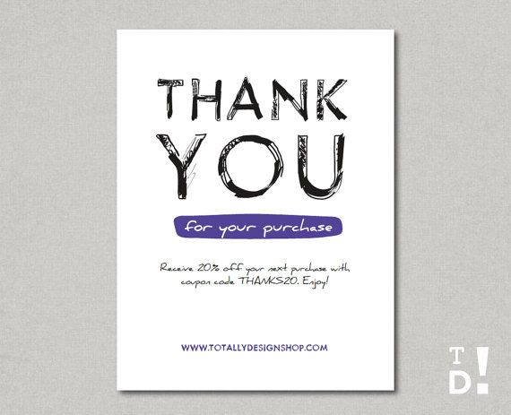Business Thank You Cards Printable INSTANT DOWNLOAD By Totallydesign, $10.00  Business Thank You Card Template