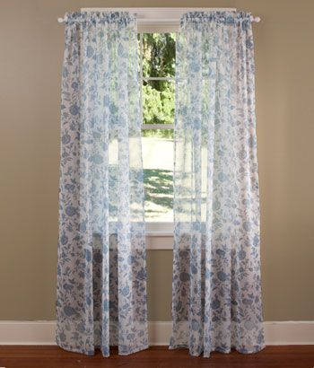Stenciled Flowers Sheer Rod Pocket Curtains Available In The 63