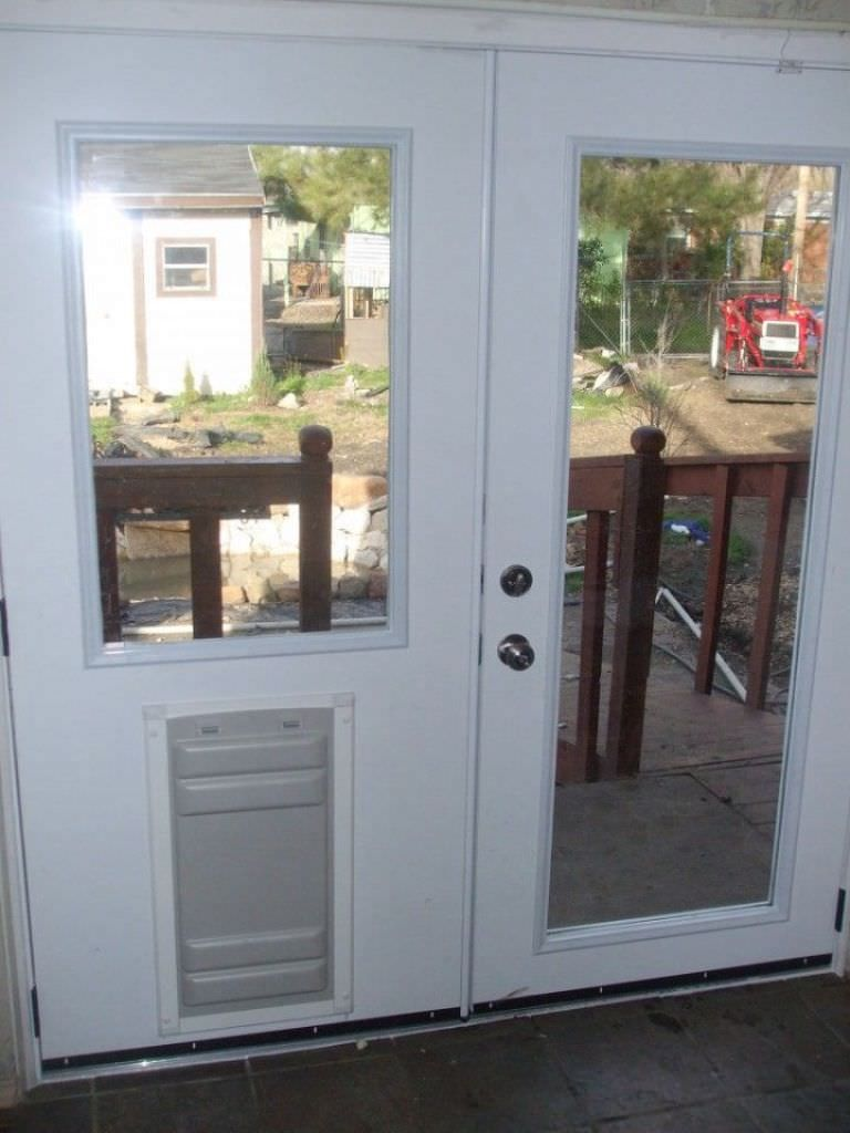 sliding door dog door french doors patio