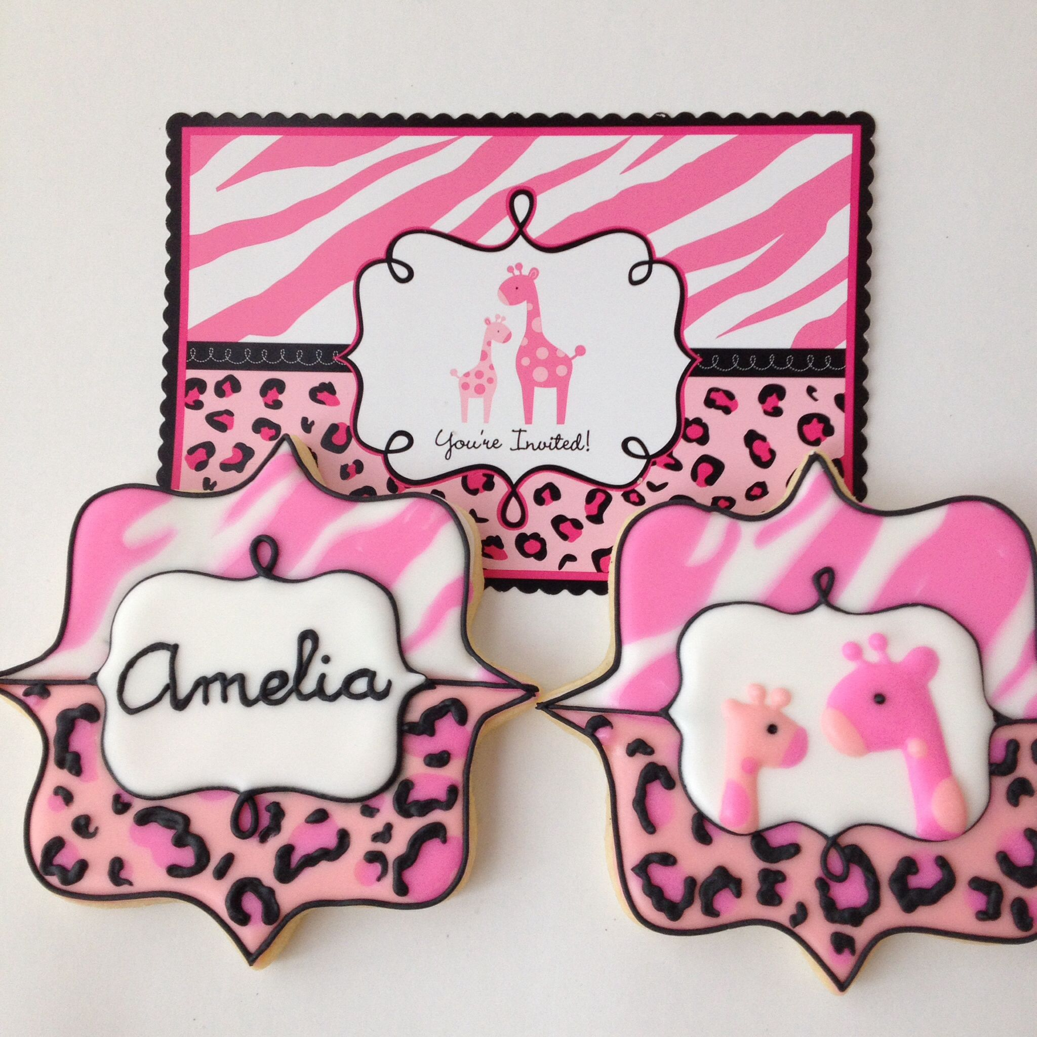 Baby shower invitation cookies, girly jungle themed | baby showers ...