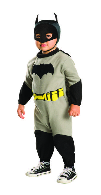 Batman EZ-On Dawn of Justice Toddler Costume - Batman has gotten this much cuter as he battles Superman with this licensed costume for infants and toddlers from the 'Batman V Superman: Dawn of Justice' movie. The fleece romper has velcro pants and detachable cape as well as mask. Great for Halloween, Day care or dressing up with everyone else. #YYC #Calgary #costume #Batman #BatmanVSuperMan #DawnOfJustice