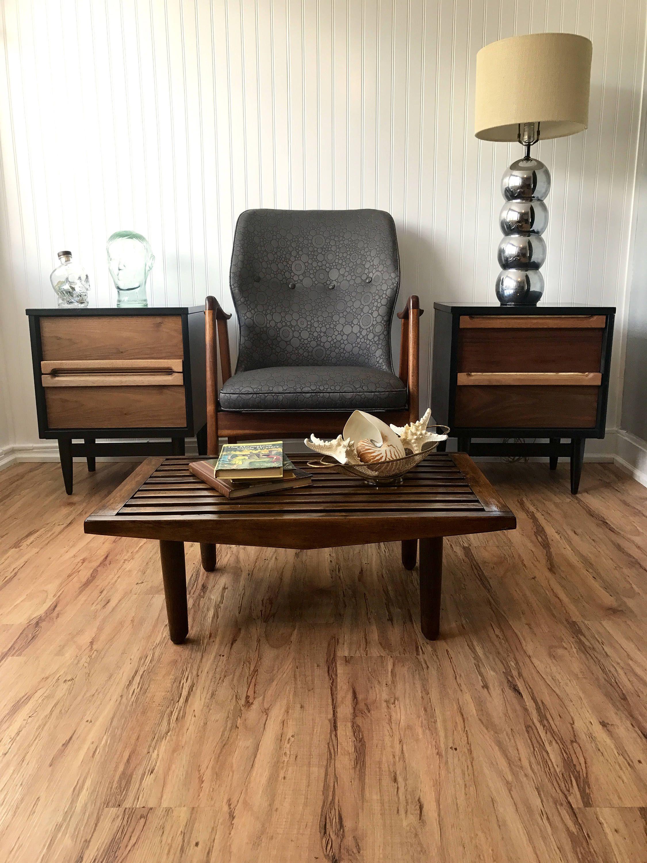 Mid century slatted coffee table danish modern slat bench mid century slatted coffee table danish modern slat bench saltman style walnut slat table geotapseo Gallery