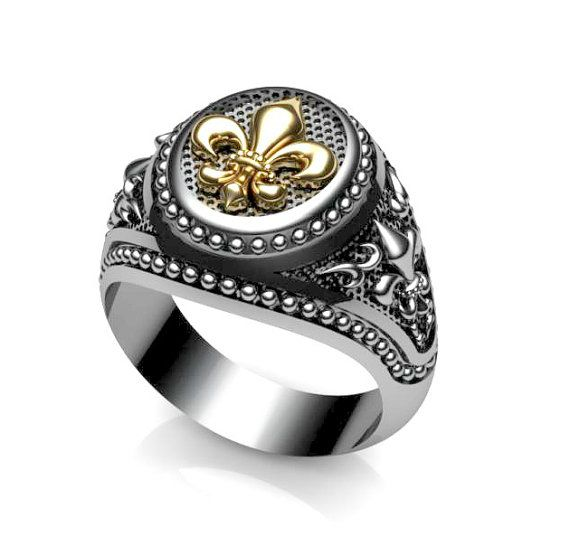 49b80e38b4dd Varouxi Masonic Fleur-de-lis Ring Medieval Gold k18   Silver 925 en ...