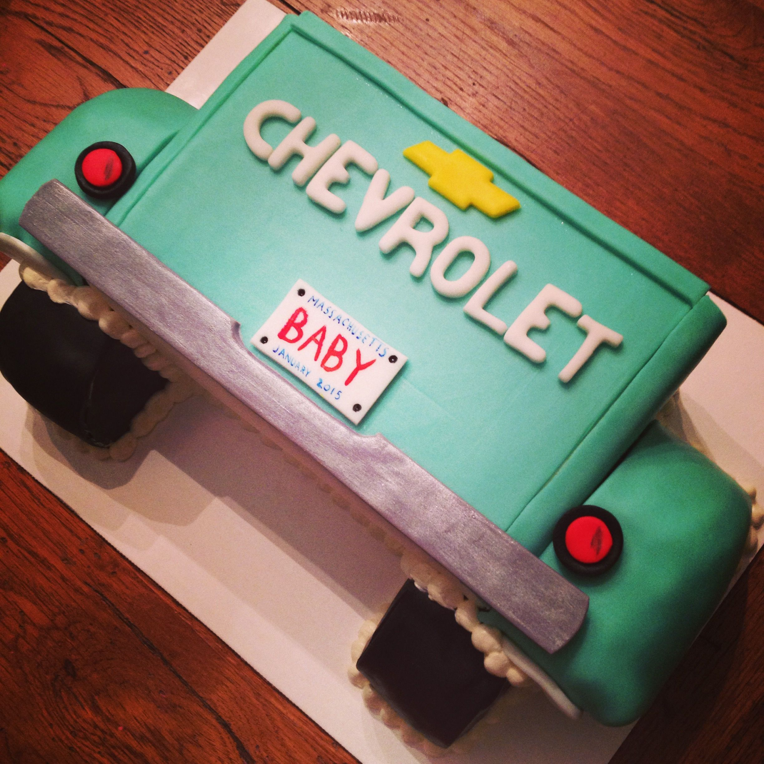 chevy truck tailgate cake with hand painted license plate
