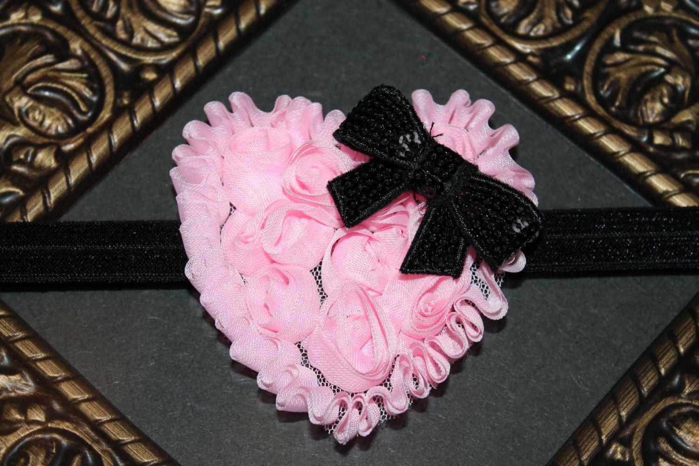 Custom Valentine's Day Shabby Chiffon Heart Headband for Newborn Baby Toddler Girl. $9.99, via Etsy.