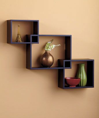 Set Of 3 Interlocking Black Wall Shelves Wall Display Home Decor