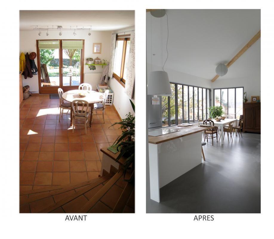 Rénovation salle à manger avant /apres Par HCM architectes à Gap - Salle A Manger Parquet