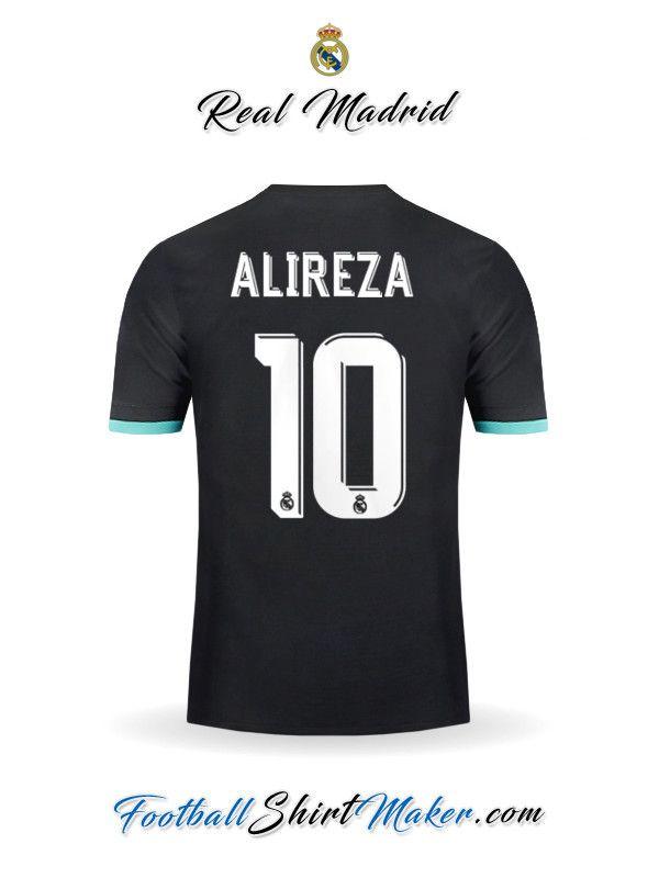 Jersey Real Madrid Cf 2017 2018 Away Alireza 10 Custom Football Shirts Custom Shirts Real Madrid