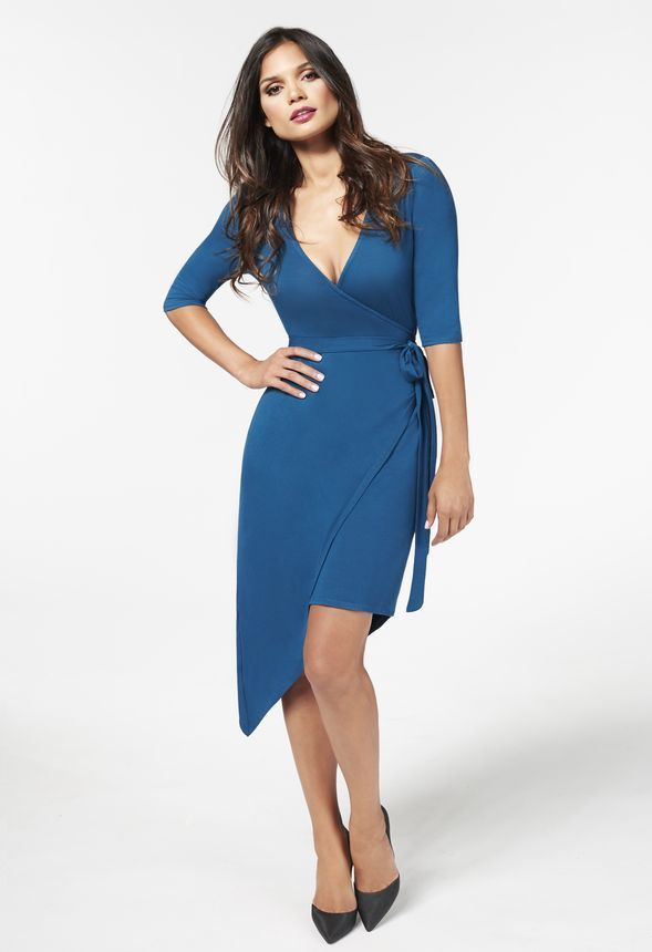 50256b170c9 Asymmetric Wrap Dress in Teal - Get great deals at JustFab