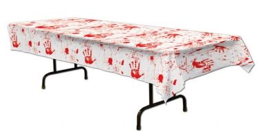 Bloody Handprints Tablecover - #HalloweenDecorations #HalloweenCrafts #Halloween #Coupons #Offers