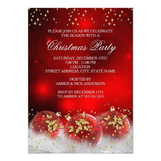 Red Gold Holly Baubles Christmas Holiday Party Card Christmas