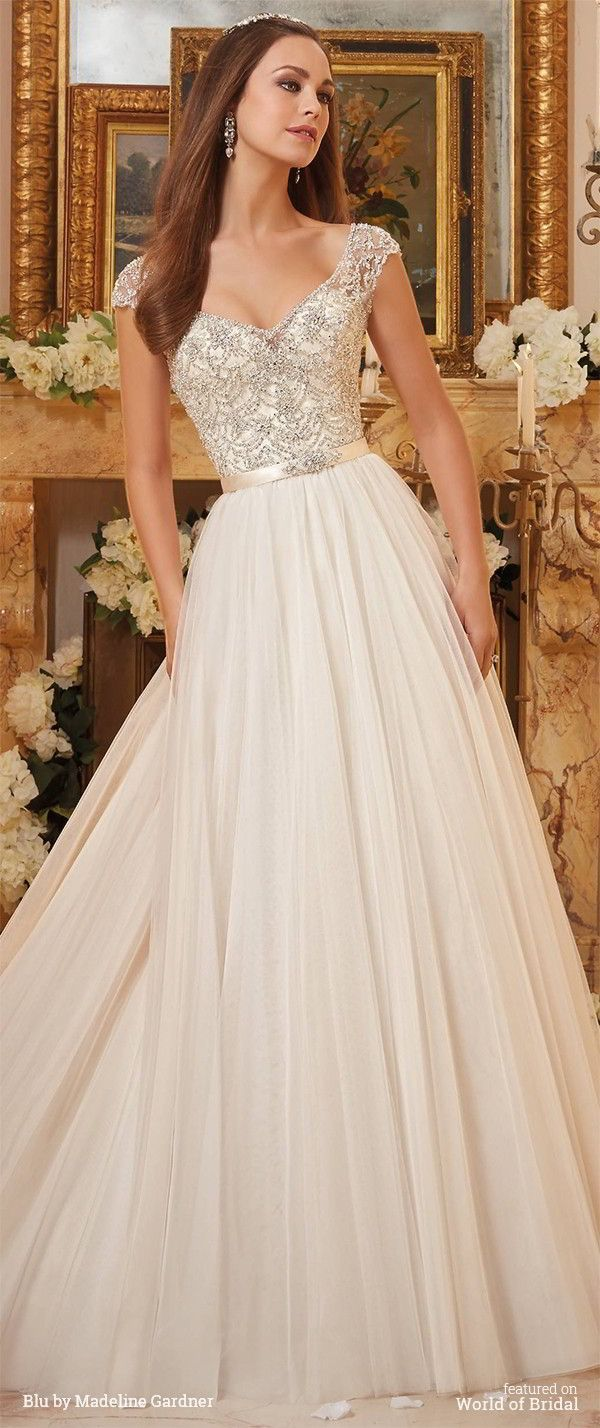 Crystallized embroidery on soft tulle ball gown wedding