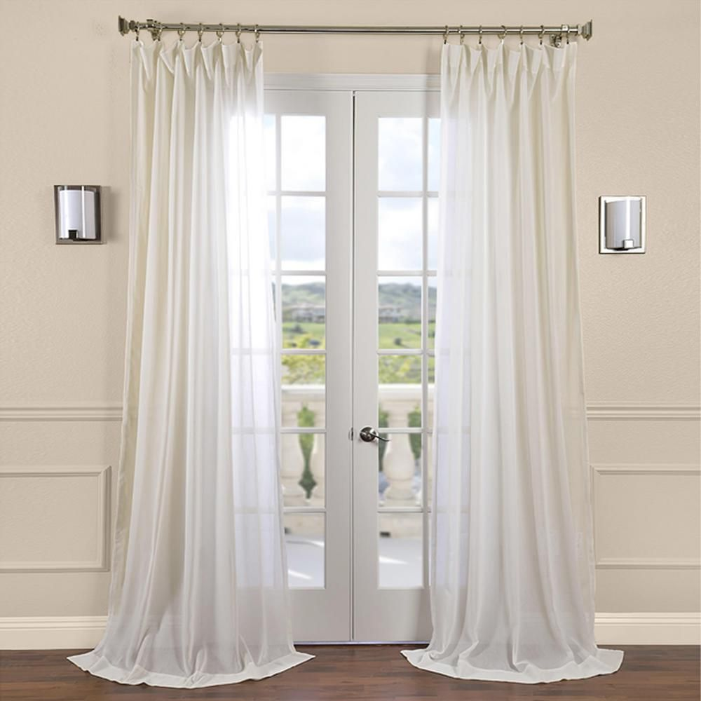 Exclusive Fabrics Furnishings Gardenia Beige Faux Linen Sheer Curtain 50 In W X 84 In L Shflnch M012 84 The Home Depot Sheer Linen Curtains Half Price Drapes Drapes Curtains