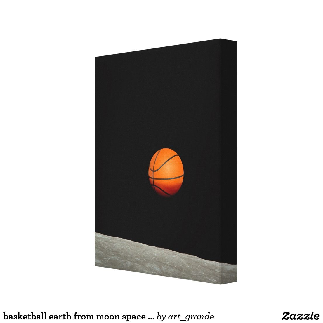basketball earth from moon space universe canvas print