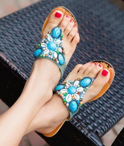 Beaded Uk Thong Shell Womens Summer Bohemian Boho SandalsEbay QrhsdCtBx