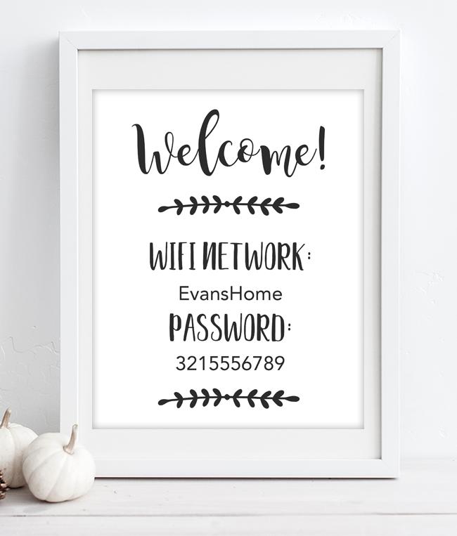 9339b1274e7f7 Minimal Wifi Password Sign | Home decor | Wifi password printable ...
