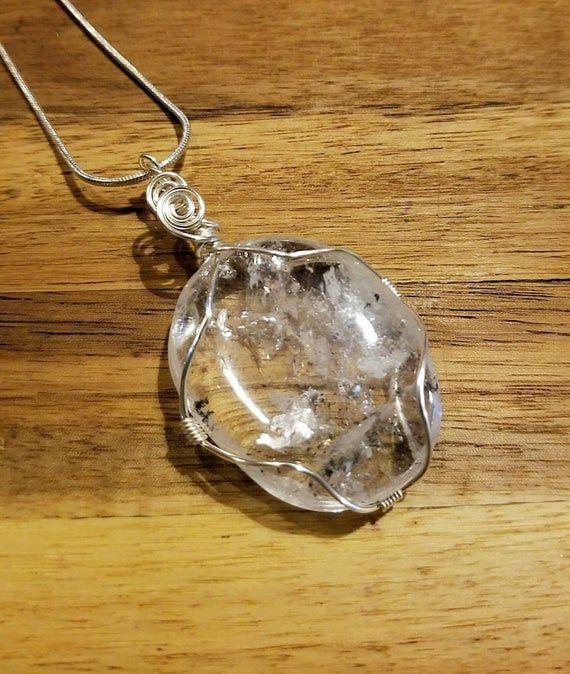 Clear quartz necklace, reiki infused, handmade jewelry, wire wrapped stone #quartznecklace