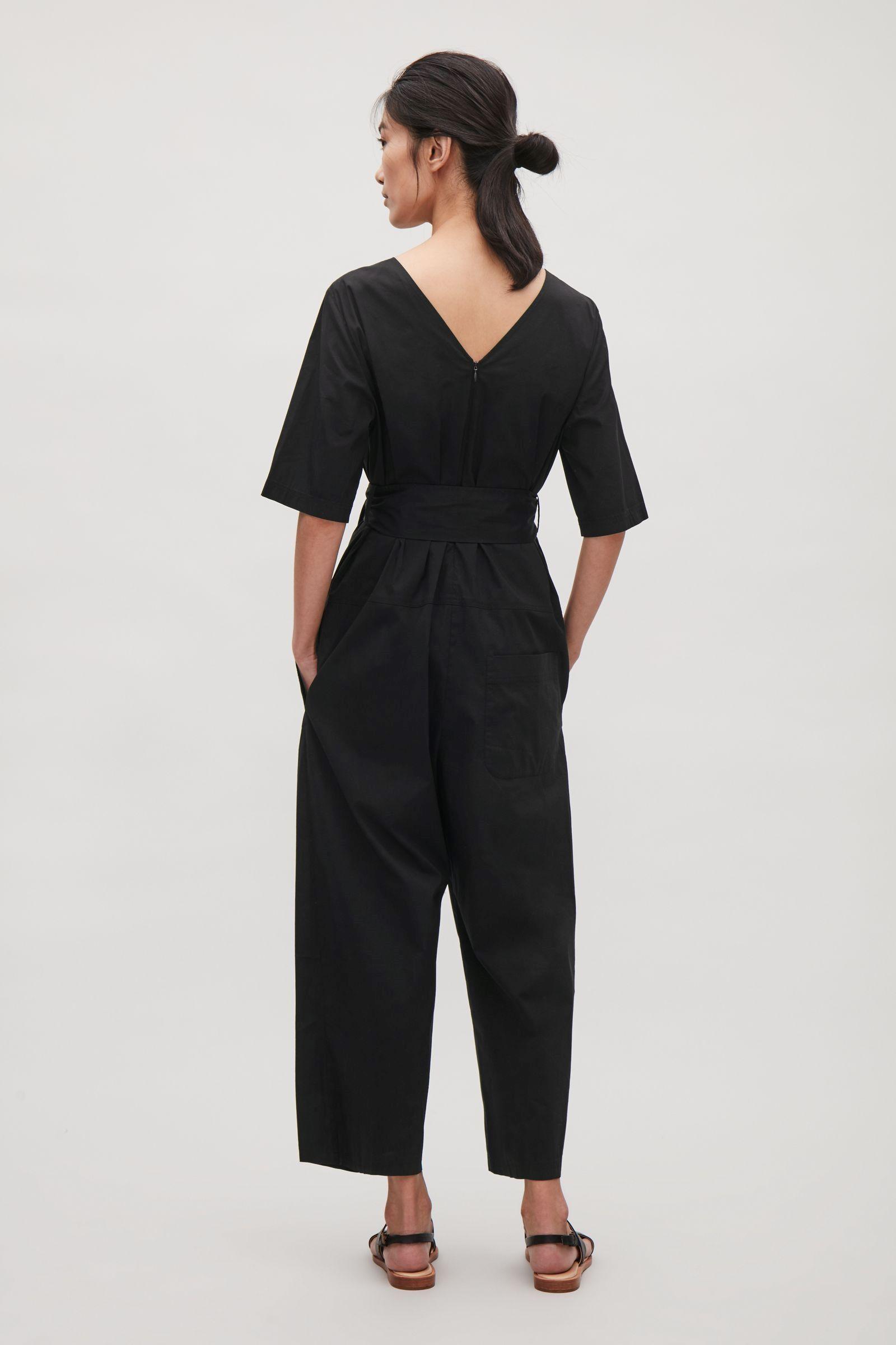 COS image 2 of Short-sleeve poplin jumpsuit in Black ...