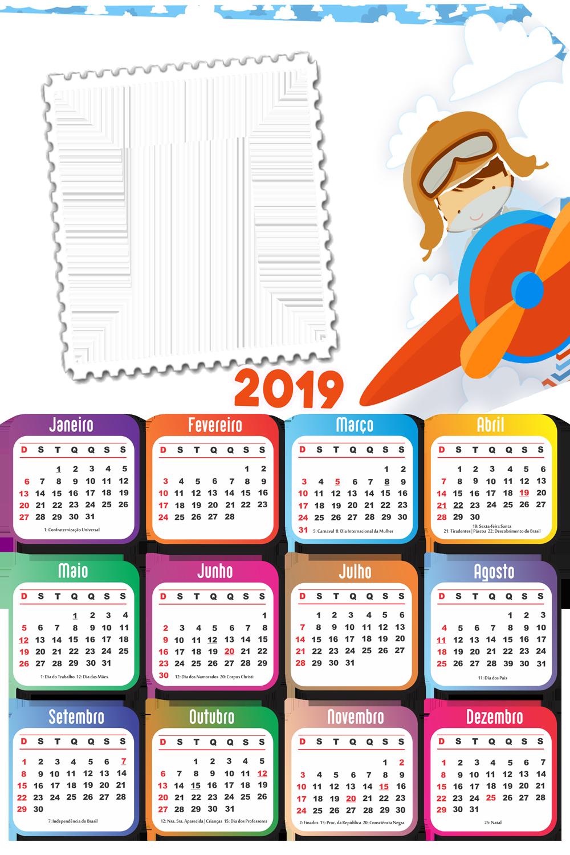 Calendario 2019 Menino Aviador Imagem Legal Molduras Para