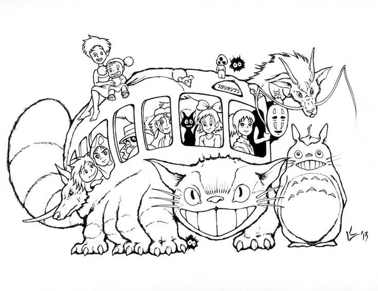 Catbus Catbus Coloring Page Coloring Books Coloring Pages Studio Ghibli Art