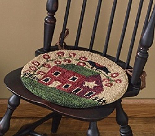 New Country Primitive SALTBOX HOUSE CROW Wool Hooked Rug Chair Pad Seat  Cushion