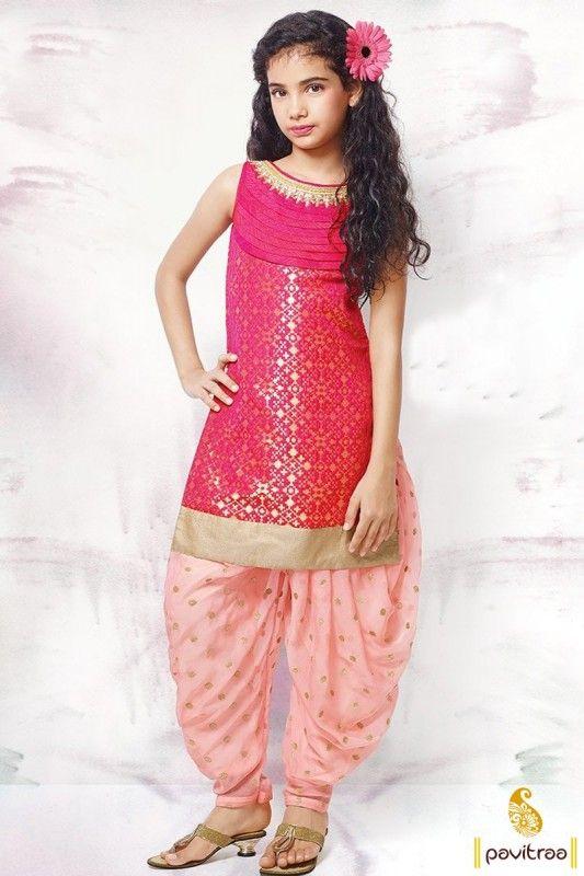 Banarasi Silk Punjabi Suit In Pink Color For Kids | kids ...