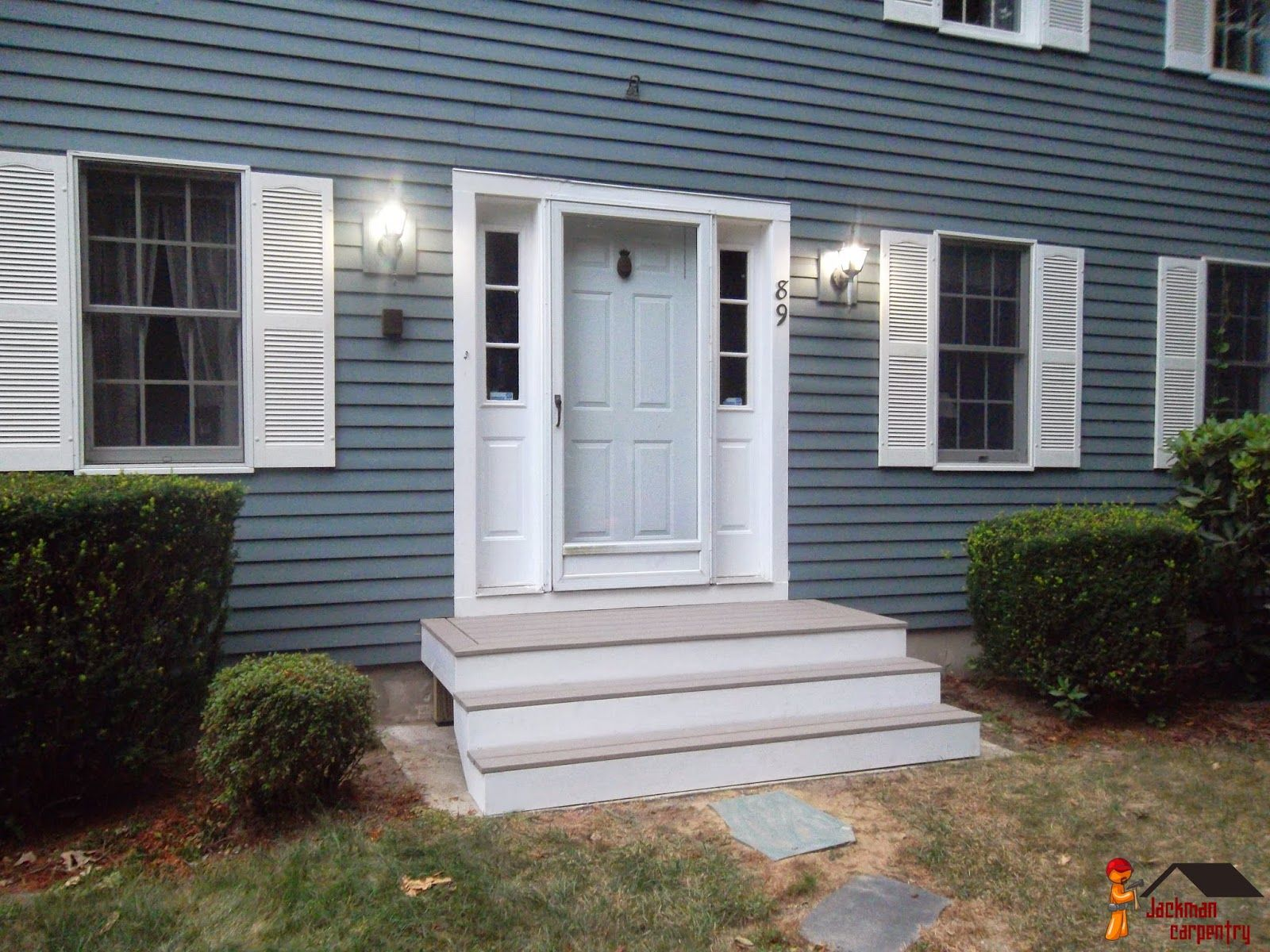 Front Door Step front door entry steps with composite decking and pvc trim wrapped