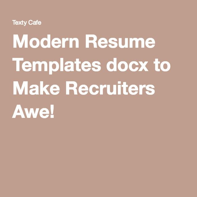 Modern Resume Templates docx to Make Recruiters Awe! Graphic - resume docx
