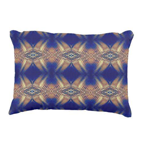 Royal Blue Cream Artistic Tribal Pattern Decorative Pillow Accent Custom Decorative Bed Pillows Blue