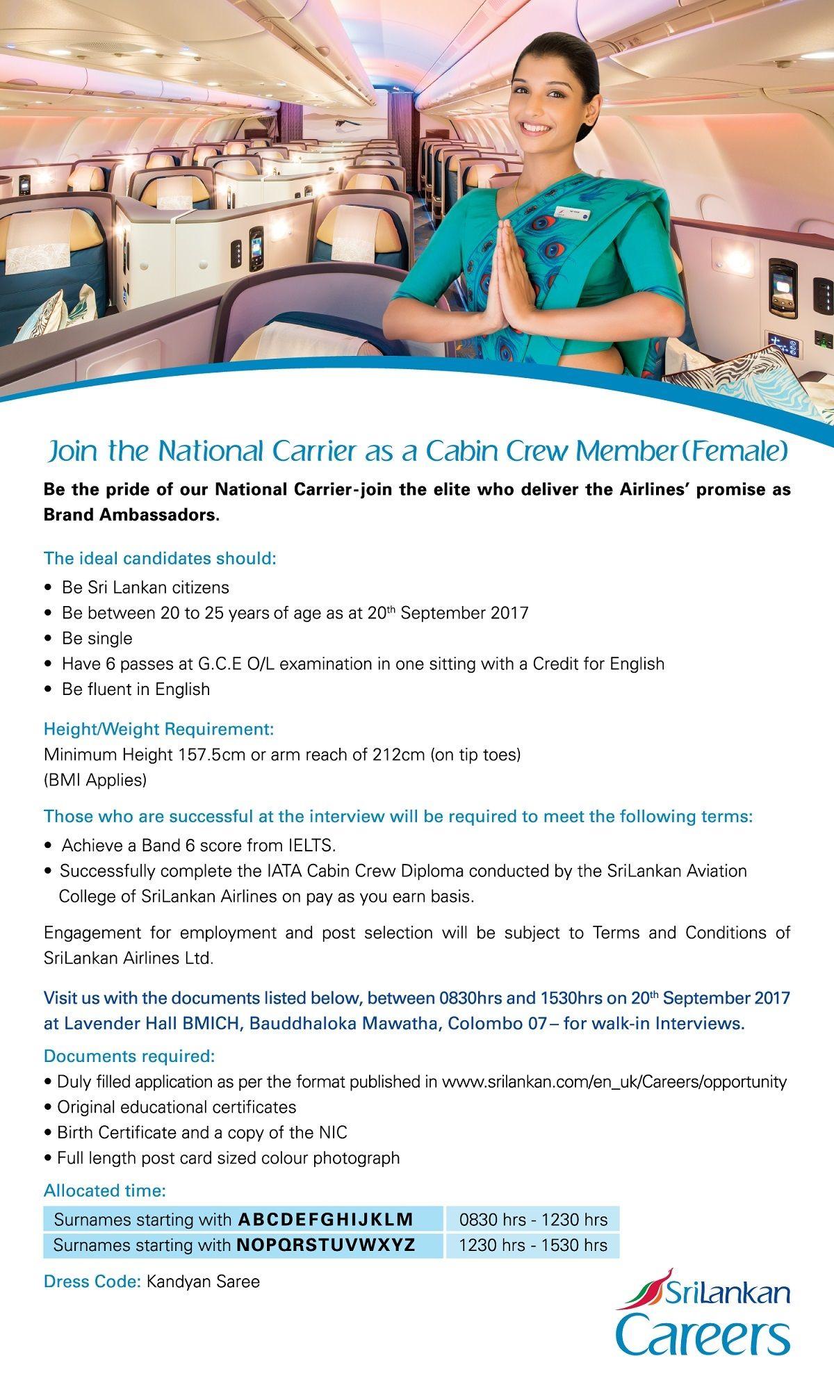 Cabin Crew at SriLankan Airlines CareerFirst Srilankan