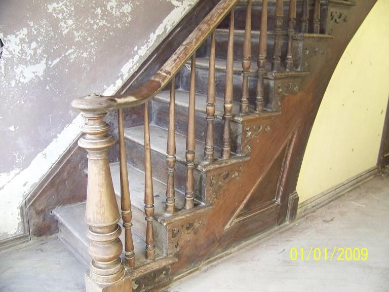 Delightful Original Staircase | Antique Walnut Staircase Still Intact $1000.00 Walnut  Wood Flooring .