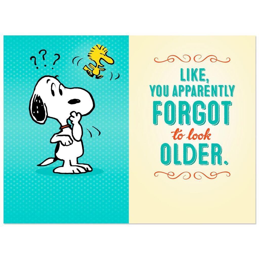 Peanuts Snoopy And Woodstock Forgetful Birthday Card Greeting Cards Hallmark Snoopy Birthday Happy Birthday Teenager Happy Birthday Cousin